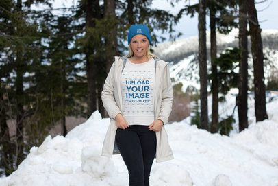 Crewneck Sweatshirt Mockup Featuring a Woman on a Snowy Day 25088