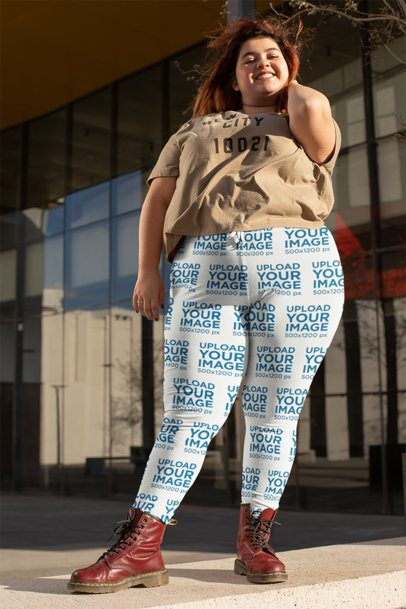 Mockup of a Cheerful Woman Wearing Plus Size Leggings 24904