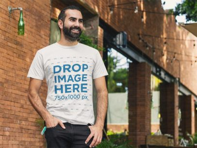 Bearded Man Standing Outside a Bar T-Shirt Mockup a8227