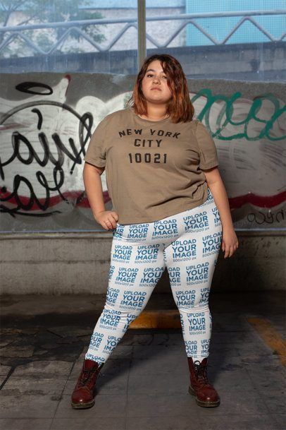 Plus Size Leggings Mockup Featuring a Powerful Woman 24913