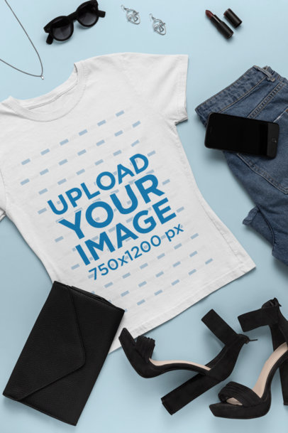Flat Lay Outfit Mockup Featuring a T-Shirt Paired with Fashion Accessories 26559