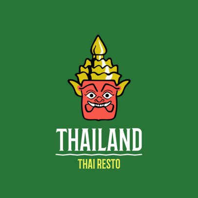 Minimalistic Logo Template for a Thai Cuisine Restaurant 1842a