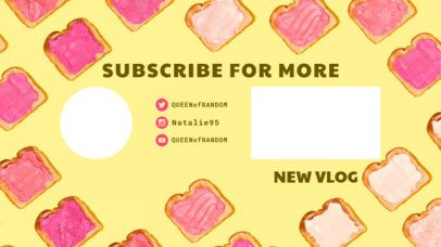 YouTube End Card with a Subscribe Button Surrounded by Tasty Bread 1256c
