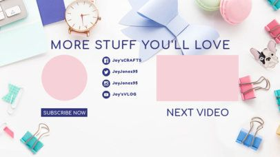Girly YouTube End Screen Featuring Related Videos Panel 1256b
