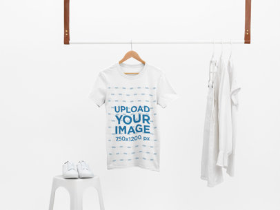 Mockup of a T-Shirt Hanging With Only White Clothes 26889