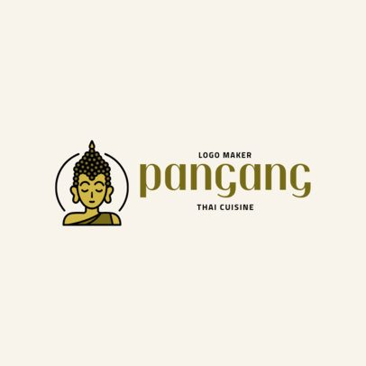 Thai Restaurant Logo Maker with a Buddha Clipart 1844c