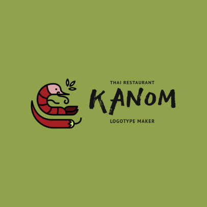 Minimalistic Thai Food Restaurant Logo Maker with Spicy Food Clipart