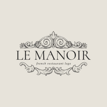 French Restaurant Logo Maker Featuring a Crown Frame 1808d