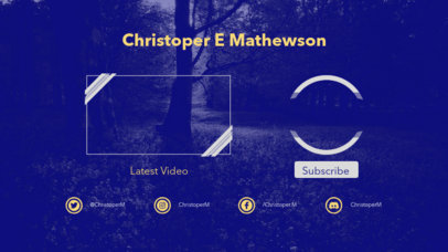 Simple YouTube End Card Template for Video Bloggers 1258d