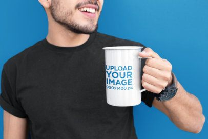 21 Oz Enamel Mug Mockup of a Man with a Beard 26936