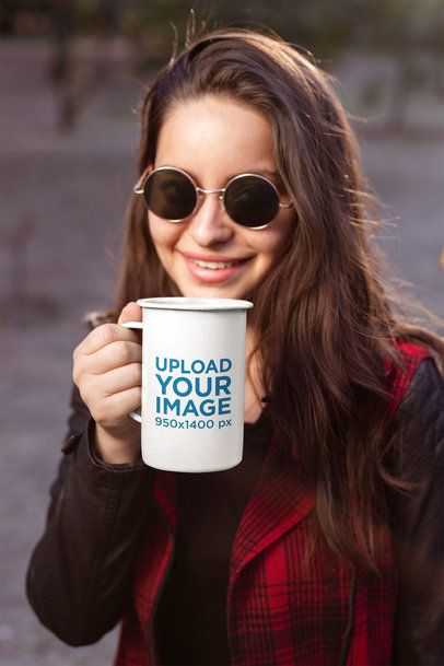 21 Oz Enamel Mug Mockup Featuring a Woman with Sunglasses 26928