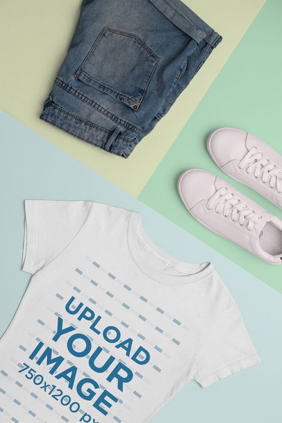 Mockup of a Women's T-Shirt with a Cool Outfit 26405