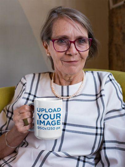 15 Oz Coffee Mug Mockup of a Relaxed Senior Woman Sitting at Home 27451