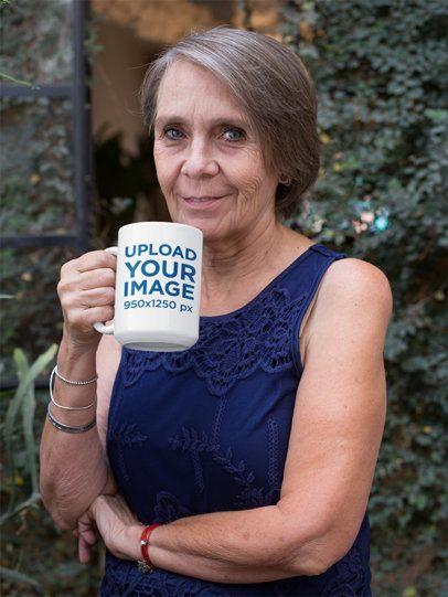 15oz Mug Mockup of an Elderly Woman Drinking Coffee in Her Backyard 27436