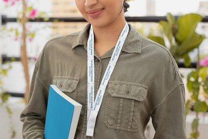 Lanyard Mockup of a Woman in a Relaxed Office Environment 26684