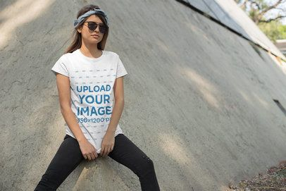 T-Shirt Mockup of a Cool Woman Wearing Sunglasses and a Bandana 27337