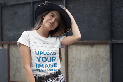 T-Shirt Mockup of a Woman Wearing a Fedora Hat 27334