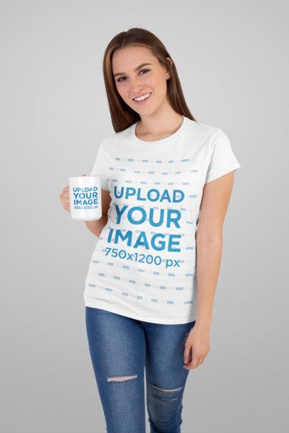 Mockup of a Woman Wearing a T-Shirt While Holding a 15 Oz Coffee Mug 27502