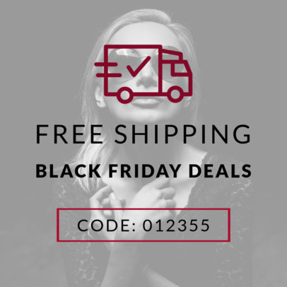 Shipping Promo Code Online Banner Maker for Black Friday 753a