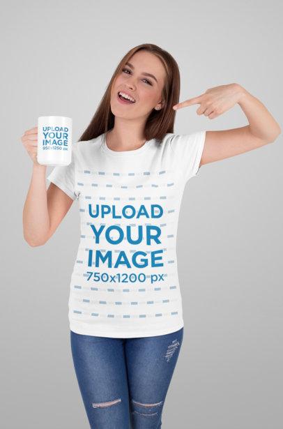 Mockup of a T-Shirt Wearing Woman Showing a 15 oz Mug 27505