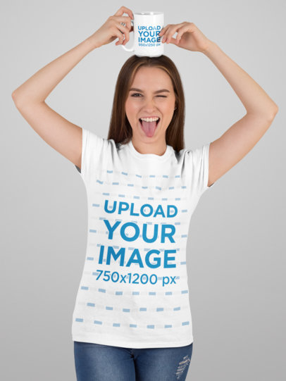 T-Shirt Mockup Featuring a Happy Woman Holding a 15 oz Mug on Her Head 27506