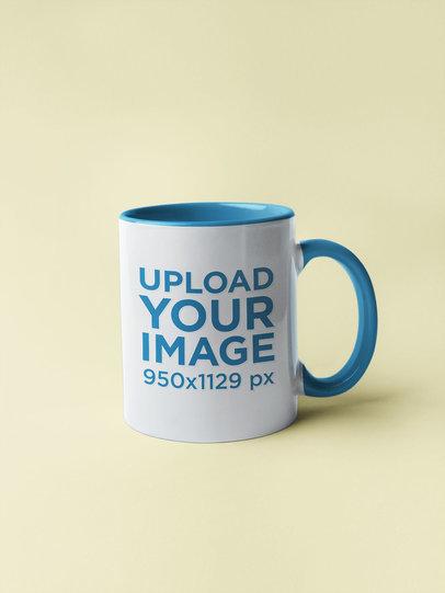 Mockup of an 11 Oz Coffee Mug with Inner Rim Color 27785