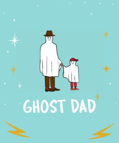 Cute Father's Day Tee Design Template with Ghost Clipart 12f