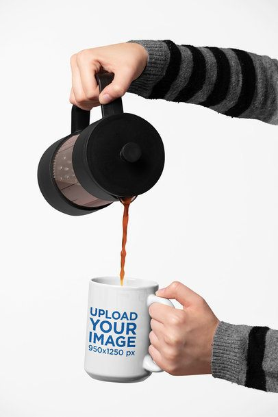 Mockup of Two Hands Pouring Hot Coffee into a 15 Oz Mug 27315