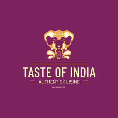 Indian Cuisine Logo Maker Featuring an Elephant Graphic 1830b