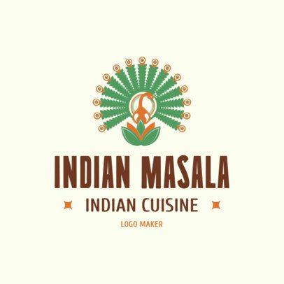 Indian Cuisine Logo Maker with Typical Flower Illustration 1830e