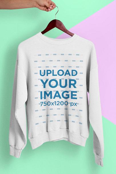 Crewneck Sweatshirt Mockup with a Minimal Bicolor Background 26743