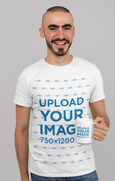 Mockup of a Smiling Bearded Man with a T-Shirt Holding a 15 oz Mug 27529