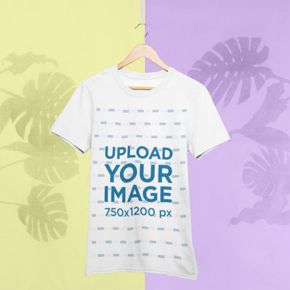Mockup of a Hanged T-Shirt with a Bicolor Background 27016