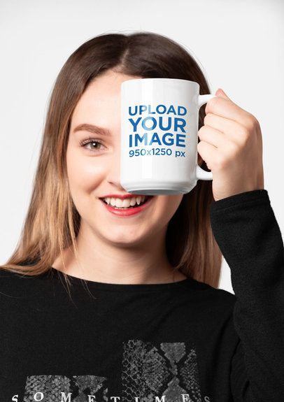 Mockup of a Woman with Red Lips Covering Half Her Face with a 15 Oz Mug 27320