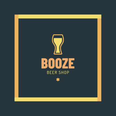 Beer Store Logo Generator with a Geometric Frame 1816c
