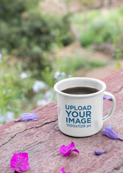 12 Oz Enamel Mug Mockup over a Wooden Surface in a Natural Environment 26972