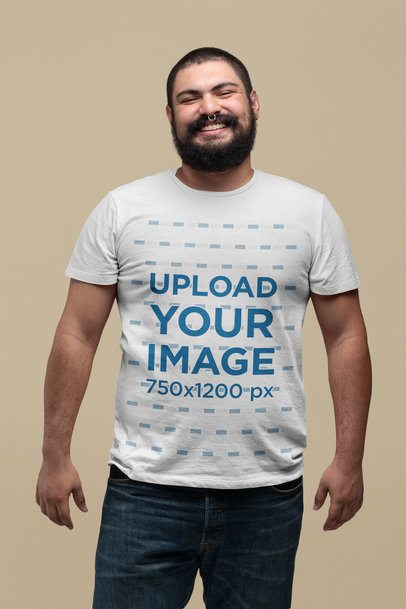 Plus Size T-Shirt Mockup Featuring a Smile Bearded Man 27755