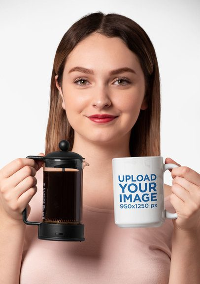 Mockup of a Woman Holding a 15 oz Mug and a French Press Coffee Maker 27323