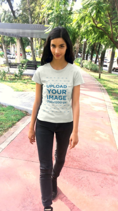 T-Shirt Video of a Long-Haired Woman Walking in a Park 23258