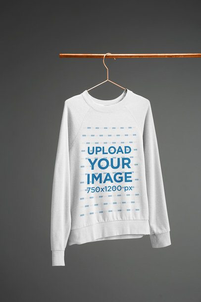Women's Crewneck Hoodie Mockup Hanged from a Copper Tube 27385