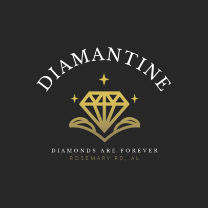 Jewelry Logo Template with Sparkling Diamond Clipart 2189