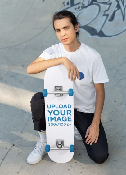 Skateboard Mockup of a Guy on His Knees in a Skatepark 27202