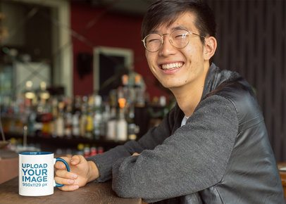 Mockup of a Smiling Man Drinking from an 11 oz Mug With Inner Rim Color 27817