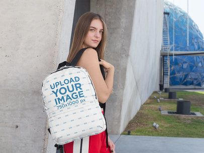 Mockup of a Teen Carrying a Backpack over Her Shoulder 27712