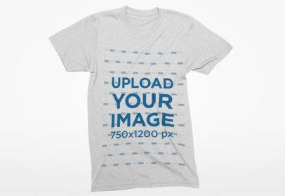 Flat Lay Mockup of a Crewneck T-Shirt over a Solid Color Background 4-el