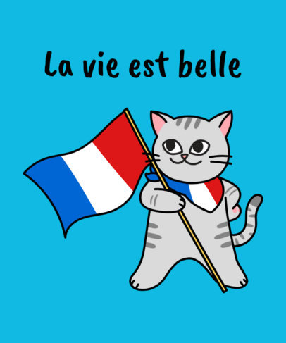 French T-Shirt Design Maker with a Funny Kitten Cartoon 1406c