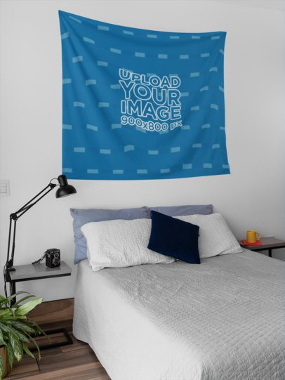Wall Tapestry Mockup Hanging Inside a Bedroom 27389