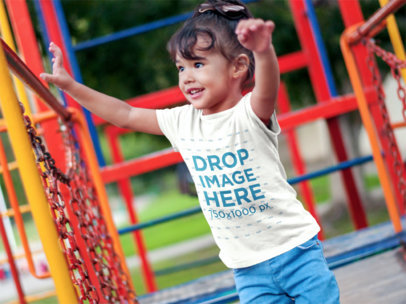 Smiling Little Girl at a Playground T-Shirt Mockup a7681