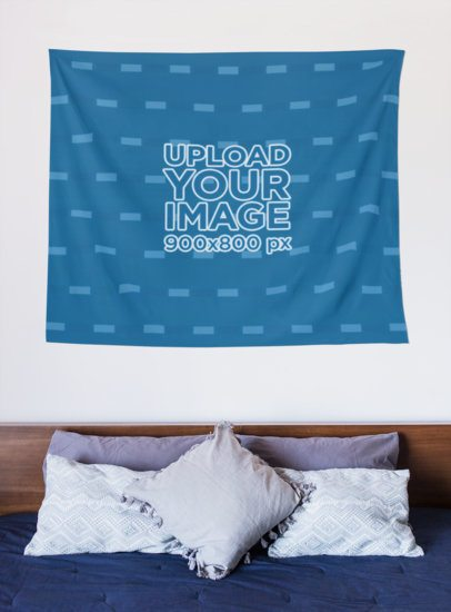 Mockup of a Wall Tapestry Hanged at the Head of a Bed 27399