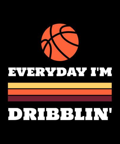 T-Shirt Design Template with Basketball Clip Art 1191h